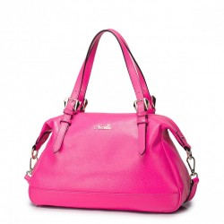 Skórzana damska torebka Różowa