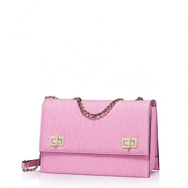 Geometryczna damska torebka z łańcuszkiem Różowa