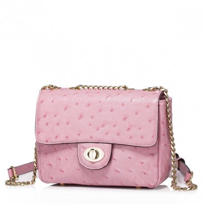 NUCELLE Niewielkich rozmiarów skórzana damska torebka Różowa