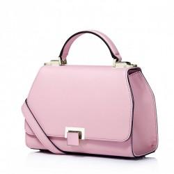 Elegancka skórzana damska torebka Różowa