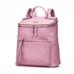Elegancki damski plecak z naturalnej skóry Różowy
