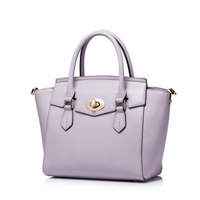 Prosta damska torebka z naturalnej skóry fiolet
