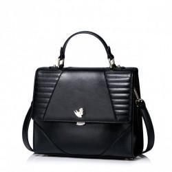 NUCELLE Skórzana klasyczna torebka Czarna