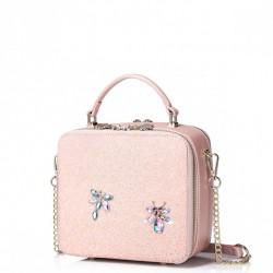 Mini kuferek na łańcuszku z ważką Różowy