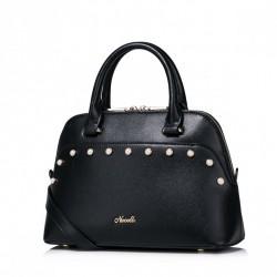 Elegancko zdobiona damska torebka na ramię Czarna