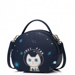 JUST STAR Okrągła torebka z kotem Granatowa