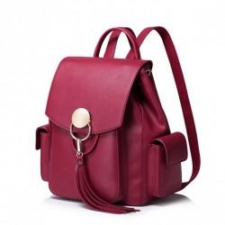 NUCELLE Stylowy plecak z frędzlami Czerwony
