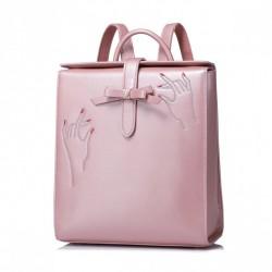 NUCELLE Prostokątny plecak ze skóry ekologicznej Różowy
