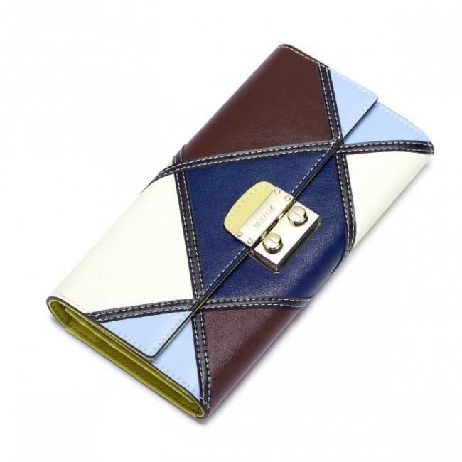 NUCELLE Długi kontrastowy portfel skórzany Kawa