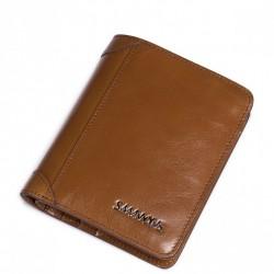 Krótki skórzany męski portfel Brązowy