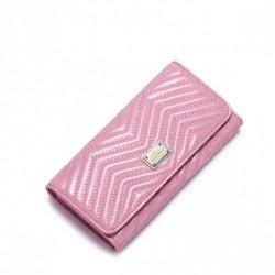 Długi damski portfel ze skóry Różowy