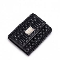 NUCELLE Krótki skórzany portfel Czarny