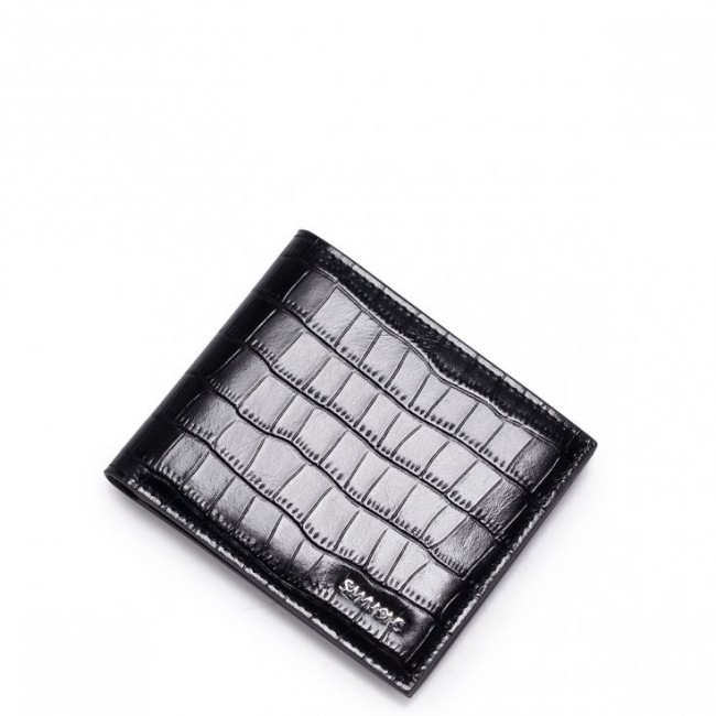 Krótki poziomy skórzany męski portfel Czarny