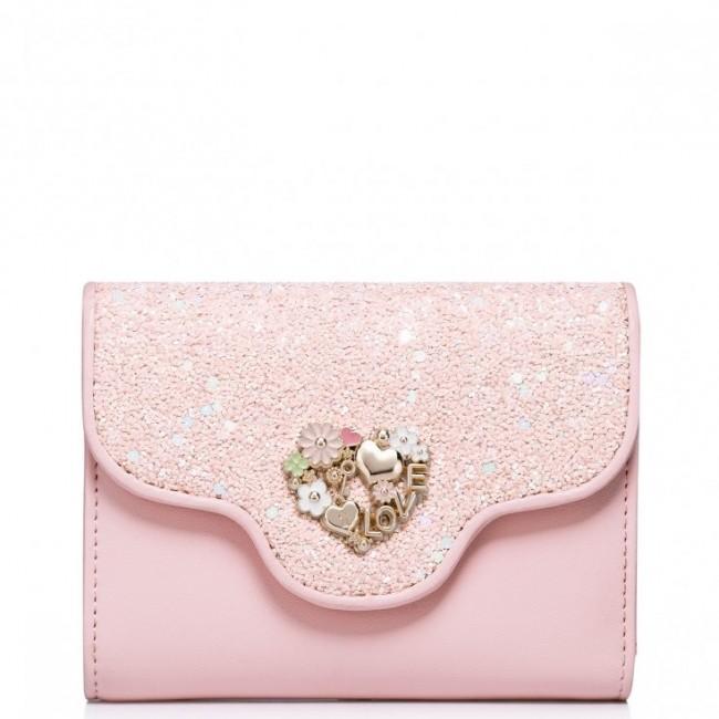 JUST STAR Dziewczęcy portfel ze skóry ekologicznej Różowy