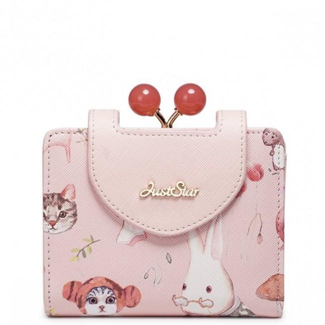 JUST STAR Krótki dziewczęcy portfel z wzorem Różowy