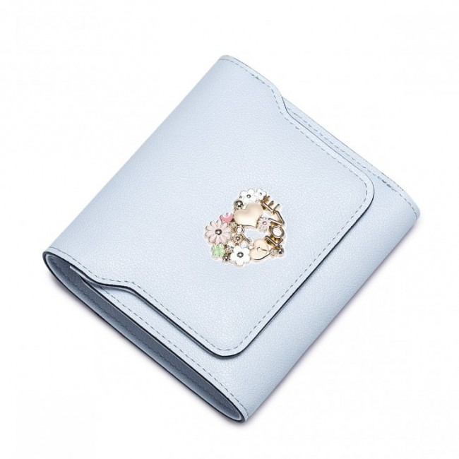 Krótki damski portfel Jasnoniebieski