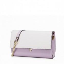 Elegancka skórzana damska kopertówka Purpurowa