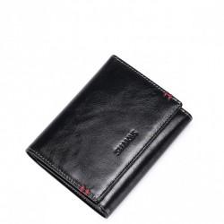 Prosty krótki męski portfel z naturalnej skóry Czarny