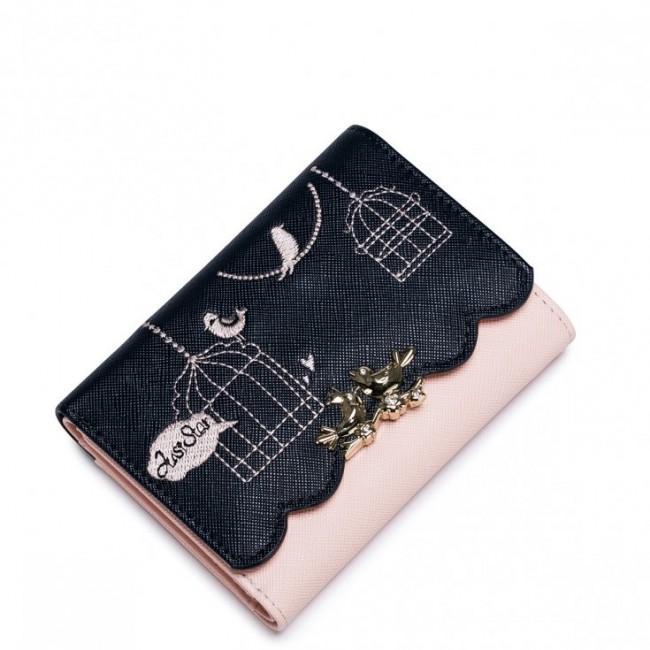 Krótki dziewczęcy portfel z letniej kolekcji Niebieski