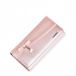Długi dziewczęcy portfel z wycinanym wzorem Różowy