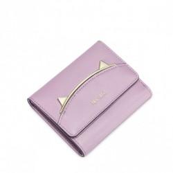 Elegancki krótki damski portfel Purpurowy