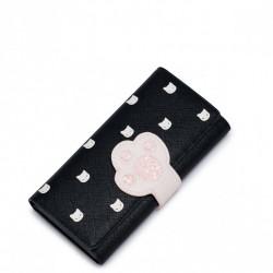 Długi dziewczęcy portfel z kocią łapką Czarny