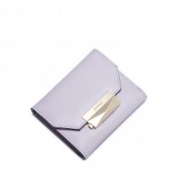 Krótki damski portfel z naturalnej skóry Jasnopurpurowy