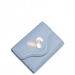 Krótki dziewczęcy portfel z motywem królika Niebieski
