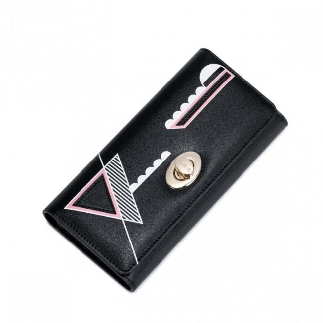 NUCELLE Długi portfel z geometrycznym wzorem Czarny