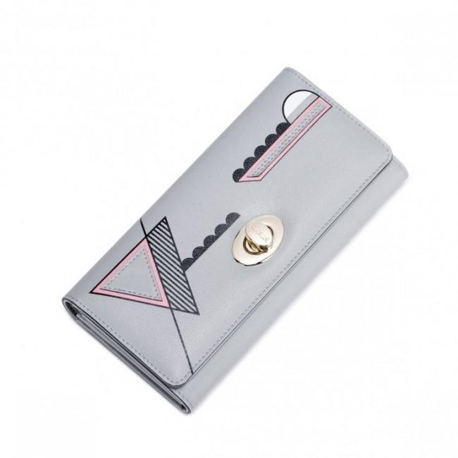 NUCELLE Długi portfel z geometrycznym wzorem Szary