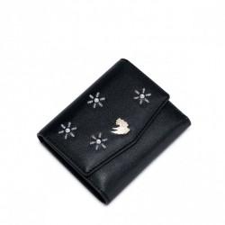 NUCELLE Krótki unikatowy portfel z cyrkoniami Czarny