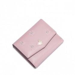 NUCELLE Krótki unikatowy portfel z cyrkoniami Różowy
