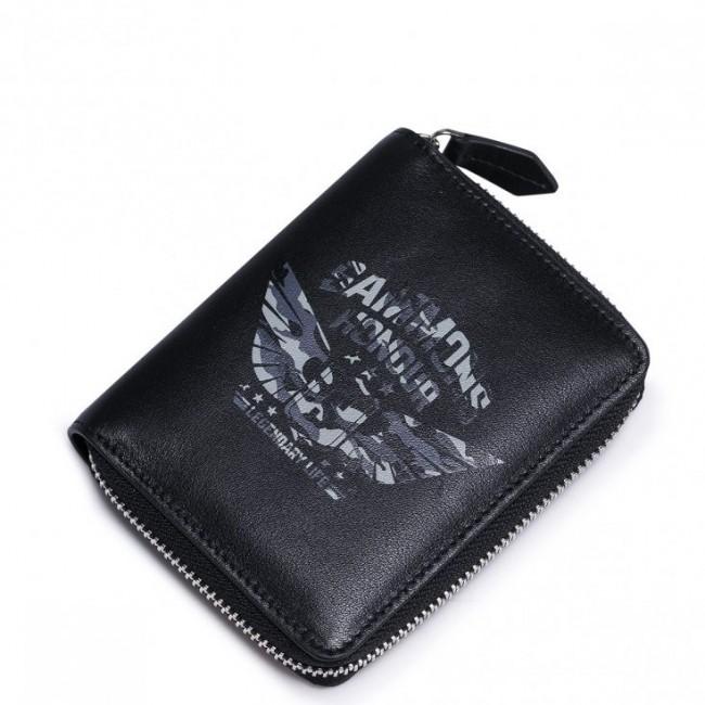 SAMMONS Pionowy portfel z motywem militarnym Czarny
